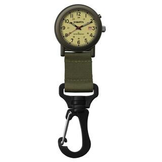 Dakota 'Light EL Backpacker' Moss Green Carabiner Clip Watch