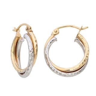 Gioelli 14k Gold Two-tone Diamond-cut Double Twist Hoop Earrings