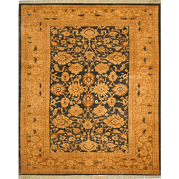 Safavieh Hand-knotted Peshawar Vegetable Dye Navy/ Gold Wool Rug - 8' x 10'