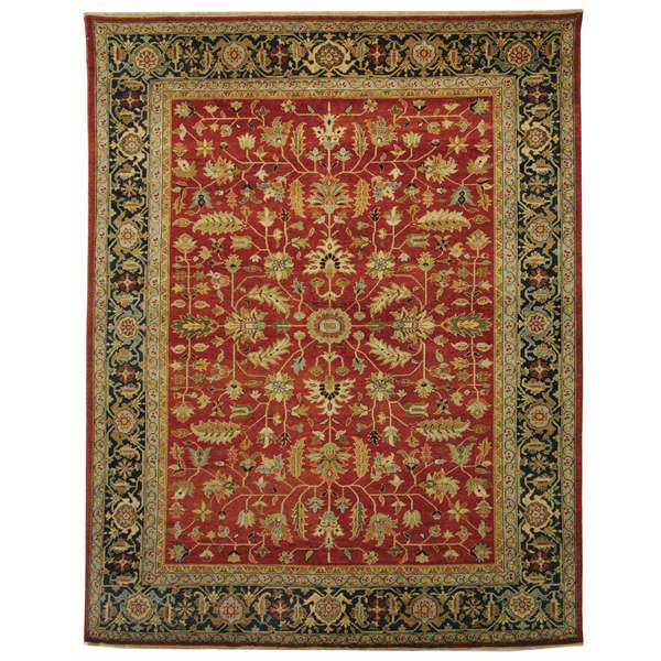 Safavieh Hand-knotted Samarkand Rust/ Navy Wool Rug - 8' x 10'