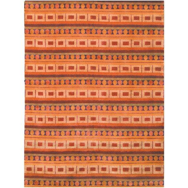 Safavieh Hand-knotted Nepalese Rust/ Multi Wool/ Silk Rug - 9' x 12'