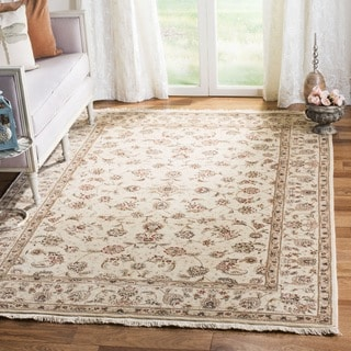 Safavieh Hand-knotted Tabriz Floral Ivory/ Ivory Wool/ Silk Rug (9' x 12')