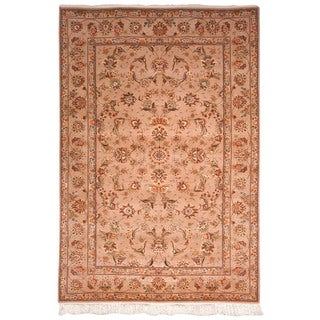 Safavieh Hand-knotted Tabriz Floral Ivory/ Ivory Wool/ Silk Rug (5' x 7')