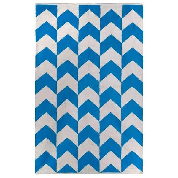 Handmade Indo Metropolitan Blue White Contemporary Chevron Rug India 4 X 6