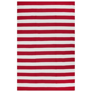 Indo Hand-woven Nantucket Red/ White Contemporary Stripe Area Rug (4' x 6')