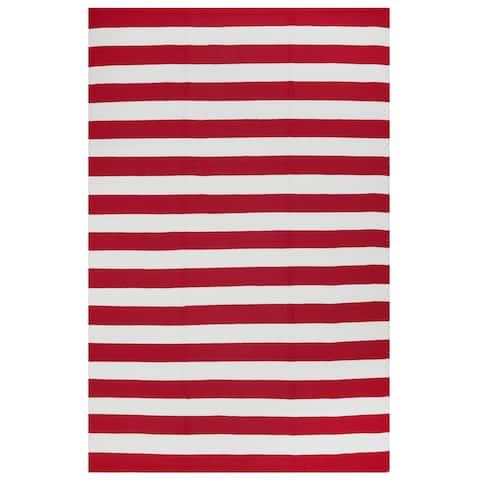 Fab Habitat Indoor Outdoor Nantucket Red/ White Contemporary Stripe Area Rug (4' x 6') - 4' x 6'