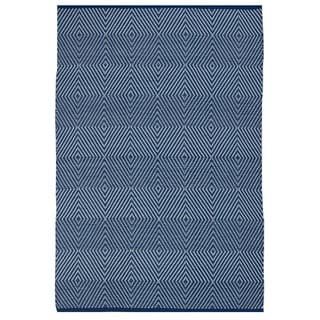 Indo Hand-woven Zen Blue/ White Contemporary Geometric PET Area Rug (4' x 6')