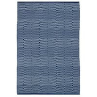 Indo Hand-woven Zen Blue/ White Contemporary Geometric PET Area Rug - 4' x 6'