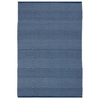 Indo Hand-woven Zen Blue/ White Contemporary Geometric Area Rug (3' x 5')