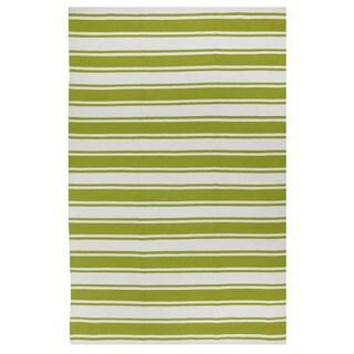 Indo Hand-woven Lucky Green/ White Contemporary Stripe Area Rug - 4' x 6'