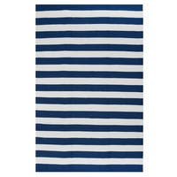 Fab Habitat Indoor Outdoor Nantucket Blue/ White Contemporary Striped Area Rug (4' x 6')