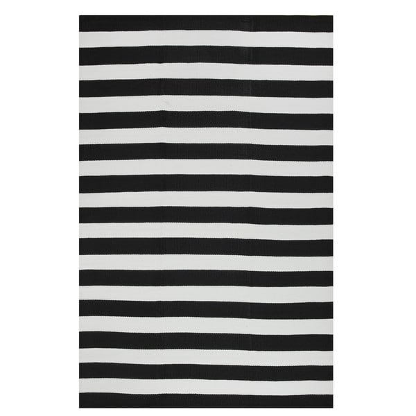 Fab Habitat Indoor Outdoor Nantucket Black White Striped Contemporary Area Rug 3 X27