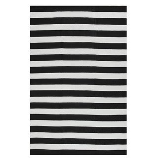 Indo Hand-woven Nantucket Black/ White Striped Contemporary Area Rug (3' x 5')