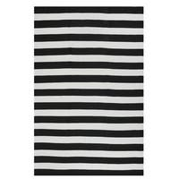 Fab Habitat Indoor Outdoor Nantucket Black White Striped Contemporary Area Rug (4' x 6') - 4' x 6'