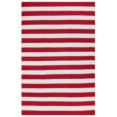 Handmade Indoor/Outdoor Nantucket Red and White Striped Rug (India) - 3' x 5'