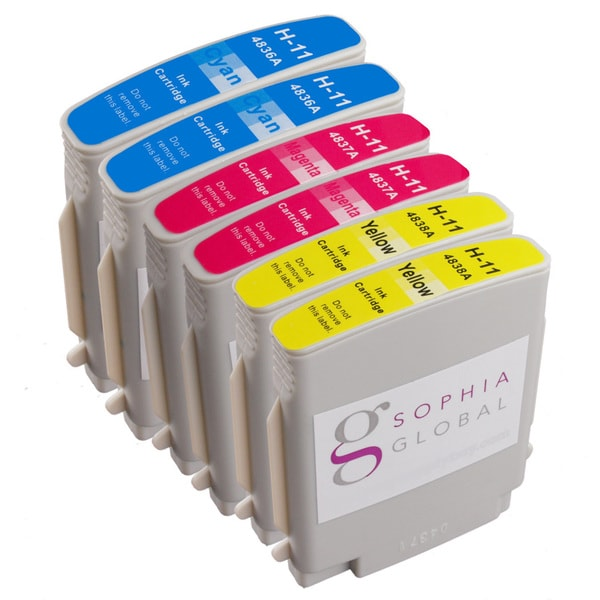 Sophia Global Compatible Ink Cartridge Replacement for HP 11 (2 Cyan, 2 Magenta, 2 Yellow)