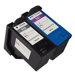 Sophia Global Remanufactured Ink Cartridge Replacement for Dell MK990 and MK991 Series 9 (1 Black, 1 Color)