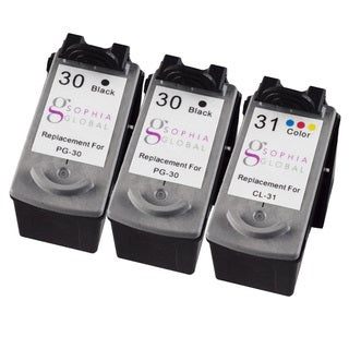 Sophia Global Remanufactured Ink Cartridge Replacement for Canon PG-30 and CL-31 (2 Black, 1 Color)