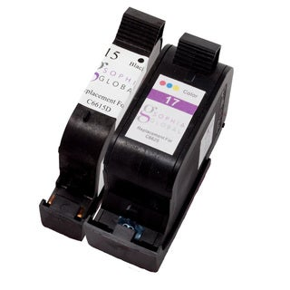 Sophia Global Remanufactured Ink Cartridge Replacement for HP 15 and 17 (1 Black, 1 Color)