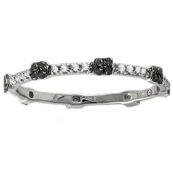 Beverly Hills Charm 10k White Gold 1/5ct Black and White Diamond Stackable Eternity Band Ring