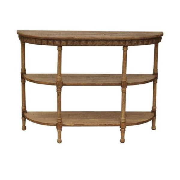 Handmade Half-moon Light Brown Wood Console Table (China)
