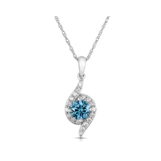 Eloquence 14k White Gold 7/8ct TDW Blue Diamond Swirl Solitaire Pendant Necklace (I1-I2)