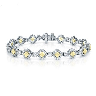 Auriya 18K White Gold 10.25ct TDW Fancy Yellow Cushion-Cut Diamond Halo Link Bracelet
