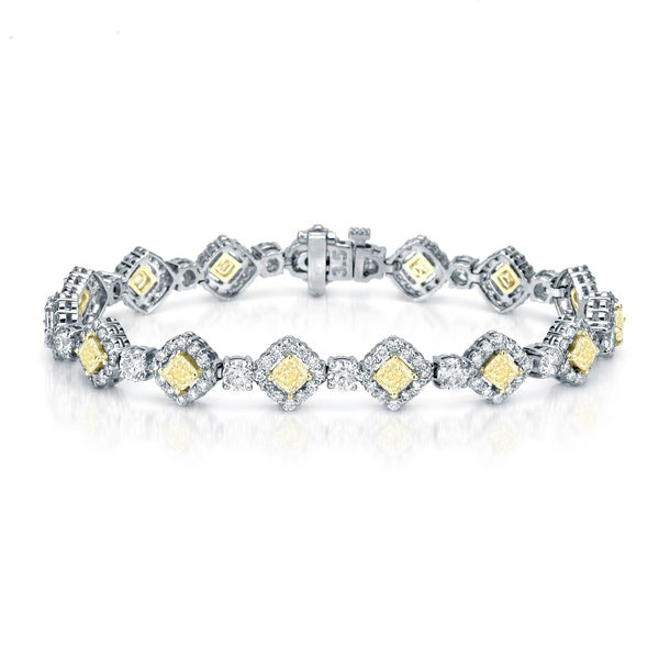 Auriya 18K White Gold 10.25ct TDW Fancy Yellow Cushion-Cut Diamond Halo Link Bracelet