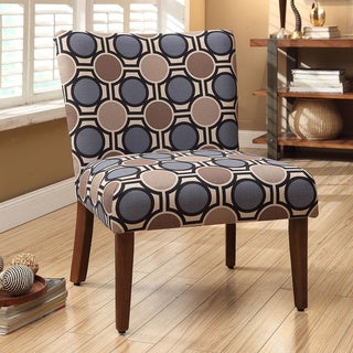 HomePop Chocolate/Grey/Blue Lattice Circle Upholstered Accent Chair