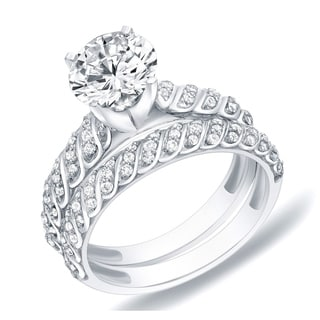 Auriya 14k Gold 1 1/4ct TDW Certified Round Diamond Bridal Ring Set