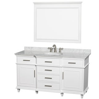 Wyndham Collection BerkeleyWhite Carrera 60-inch Single Bathroom Vanity