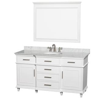Wyndham Collection BerkeleyWhite Carrera 60 Inch Single Bathroom Vanity