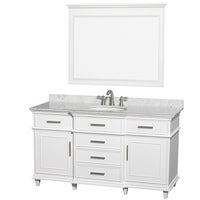 Wyndham Collection Berkeleywhite Carrera 60 Inch Single Bathroom Vanity