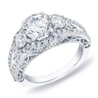 Auriya 14k Gold 2ct TDW 3-Stone Vintage Certified Diamond Halo Engagement Ring