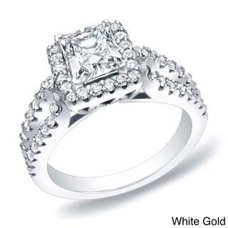 Auriya 14k Gold 1 3/4ct TDW Certified Princess Halo Diamond Engagement Ring (H-I, SI1-SI2)