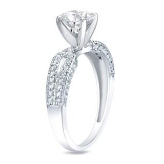 Auriya 14k Gold 1 1/4 ct TDW Certified Round Diamond Engagement Ring