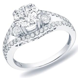 Auriya 14k Gold Certified 1 1/4 ct TDW 3-Stone Split Diamond Engagement Ring