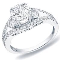 Auriya 14k Gold 1 1/4ct TDW 3-Stone Certified Round Diamond Engagement Ring
