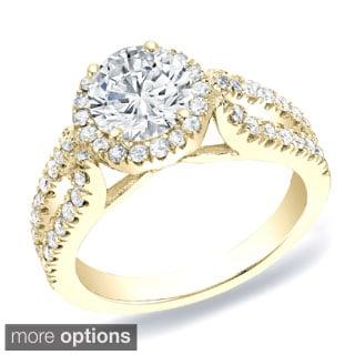 Auriya 14k Gold 1 1/4 ct TDW Round Halo Diamond Engagement Ring (H-I, SI1-SI2)