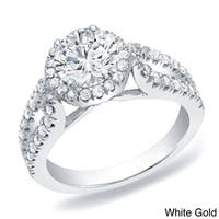 Auriya 14k Gold 1 1/4 ct TDW Split-Shank Diamond Halo Engagement Ring
