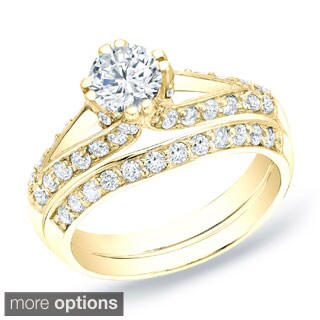 Auriya 14k Gold 1 1/4 ct TDW Round Diamond Bridal Ring Set (H-I, SI1-SI2)