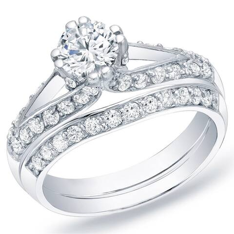 Auriya 14k Gold 1 1/4ctw Unique Round Diamond Engagement Ring Set
