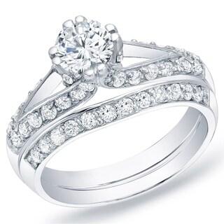 Auriya 14k Gold 1 1/4 ct TDW Certified Split-Shank Diamond Bridal Ring Set