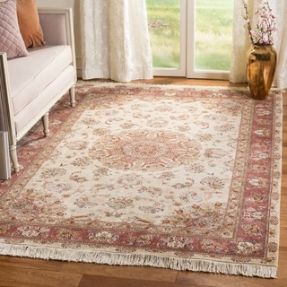 Safavieh Hand-knotted Tabriz Floral Ivory/ Rust Wool/ Silk Rug (6' x 9')