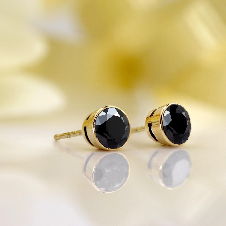 Auriya 1 2 To 4ctw Round Black Diamond Stud Earrings 14k Yellow Gold Bezel Set