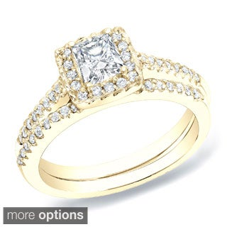 Auriya 14k Gold 3/4ct TDW Certified Princess Diamond Halo Bridal Ring Set (H-I, SI1-SI2)