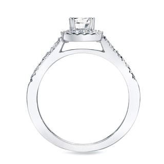 Auriya 14k Gold 3/4ct TDW Certified Princess Diamond Halo Bridal Ring Set (H-I, SI1-SI2)