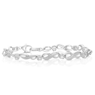 Eloquence Sterling Silver 3/4ct TWD Diamond Infinity Bracelet (H-I, I2-I3)