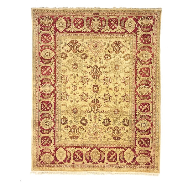 Safavieh Hand-knotted Peshawar Vegetable Dye Ivory/ Red Wool Rug - 8' x 10'