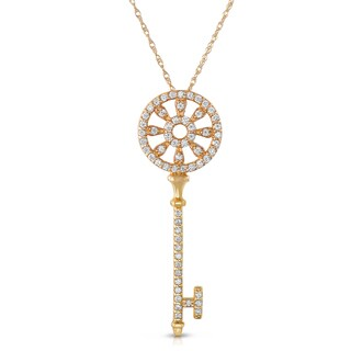 Eloquence 14k Yellow Gold 5/8ct TDW Diamond Key Necklace (H-I, SI1-SI2)